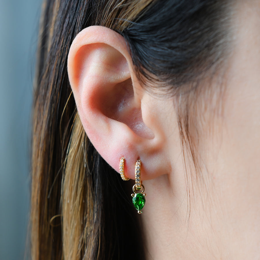 gold removable emerald tear drop charm pave huggie hoop earrings