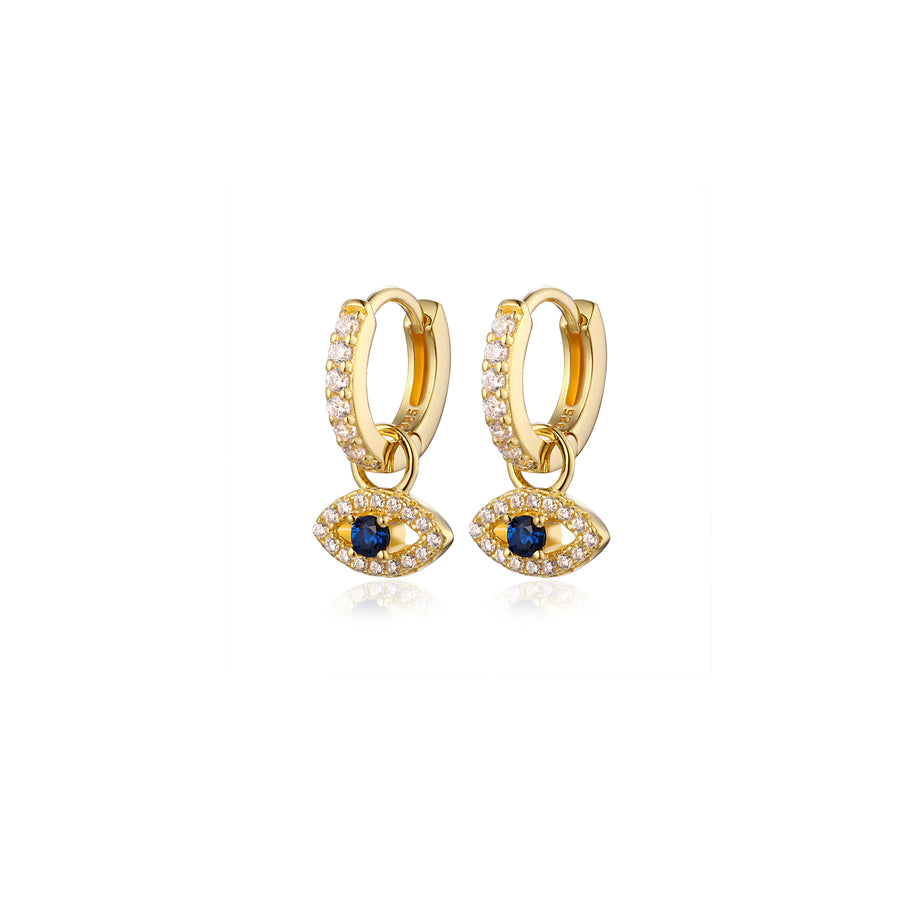 Gold pave evil eye charm huggie earrings