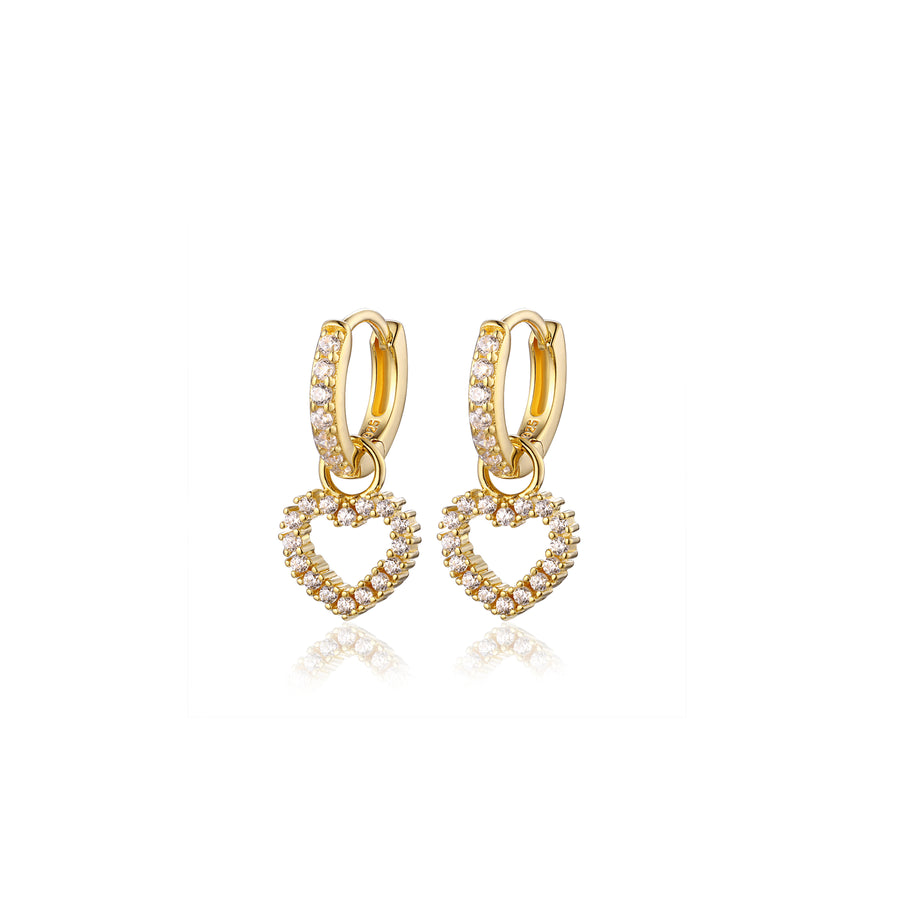 a pair of gold, pave heart charm small hoop earrings