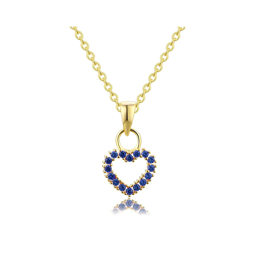 sapphire studded heart necklace