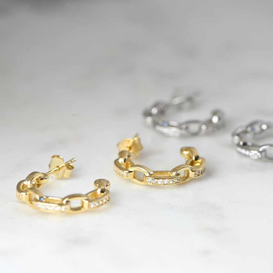 chain link diamond hoop earrings