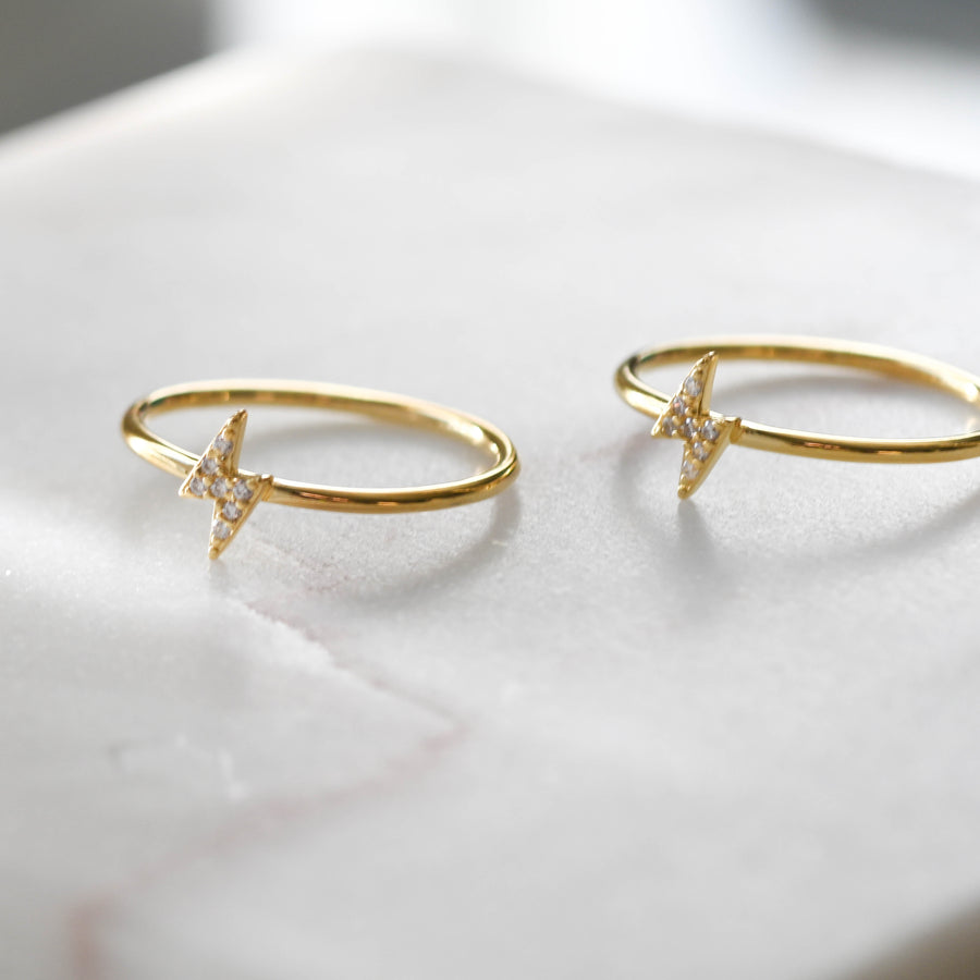 gold pave lightning bolt rings