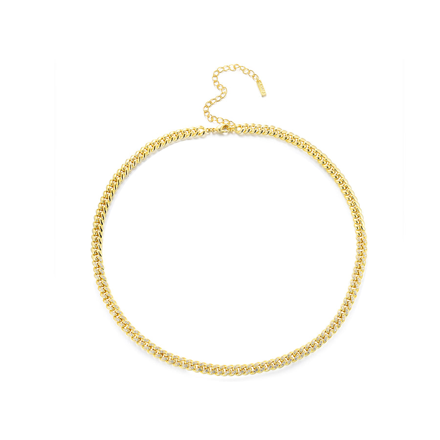 gold pave curb chain necklace