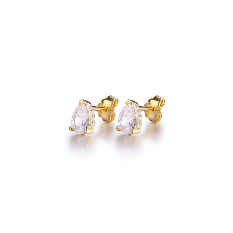 gold pear shaped stud earrings