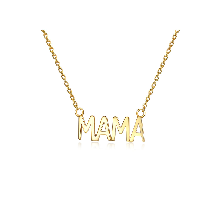 gold plated plain mama necklace