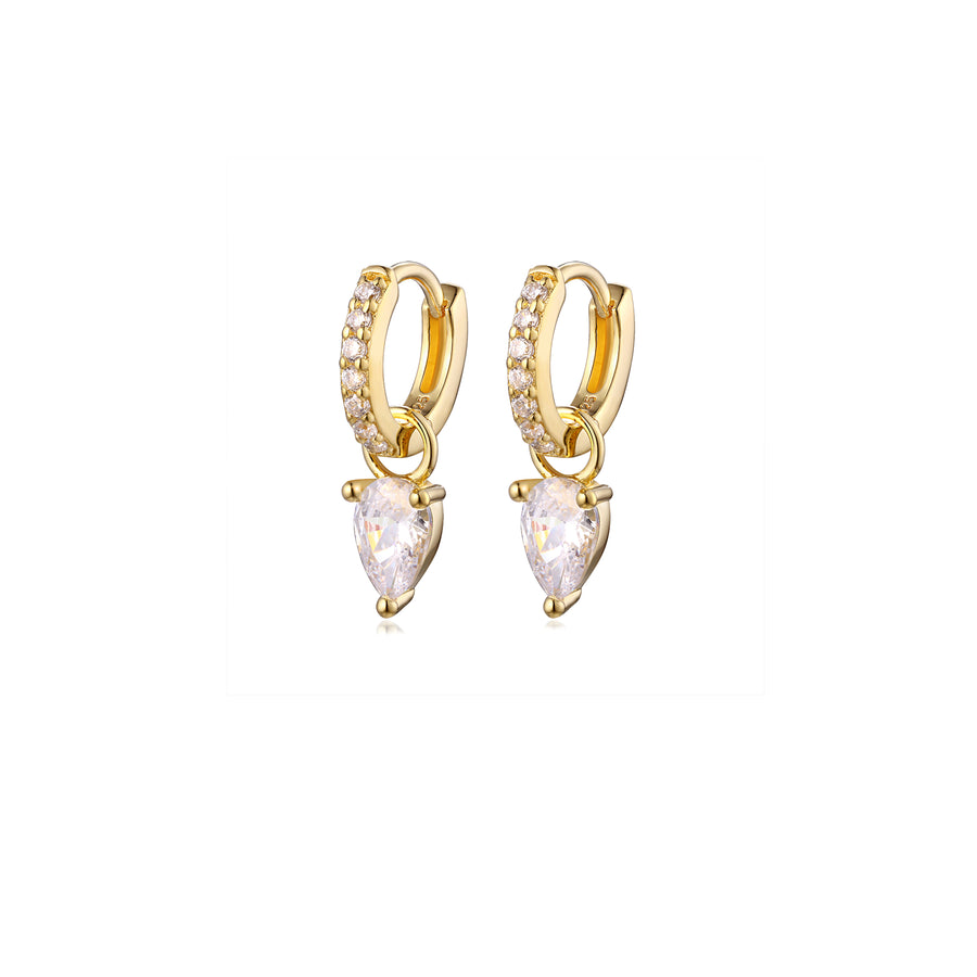Pair of gold tear drop charm huggies