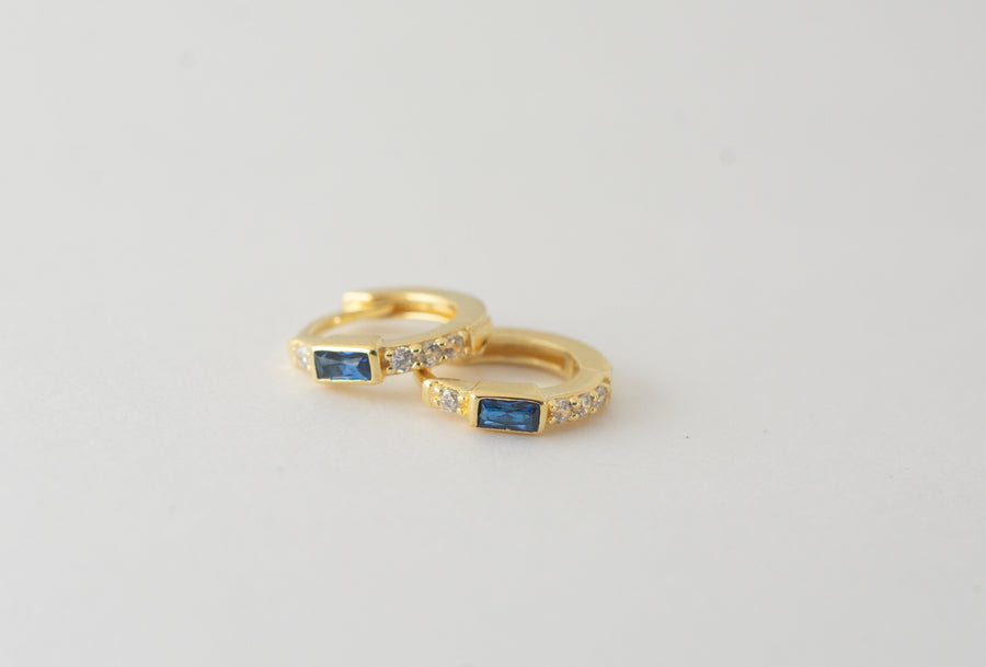 sapphire blue small hoop earrings