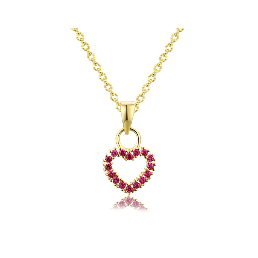 gold ruby heart necklace