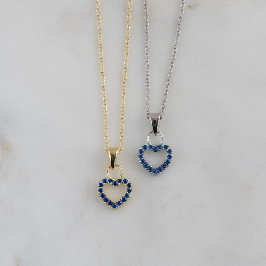 sterling silver sapphire heart necklace