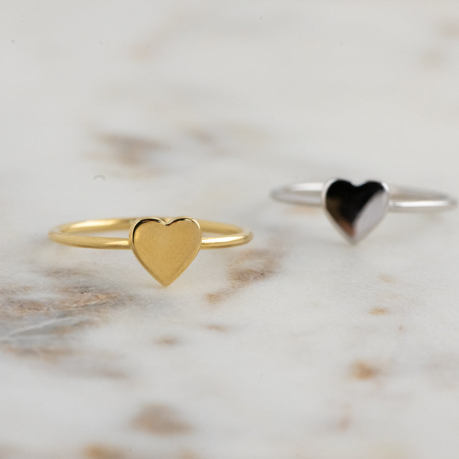 silver plain heart ring