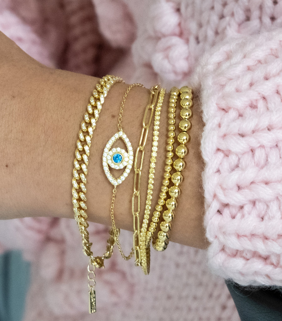 gold evil eye diamond bracelet