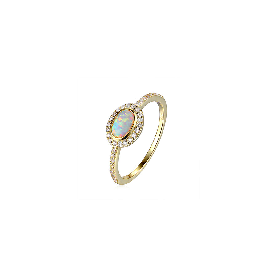 large oval opal cz gold ring