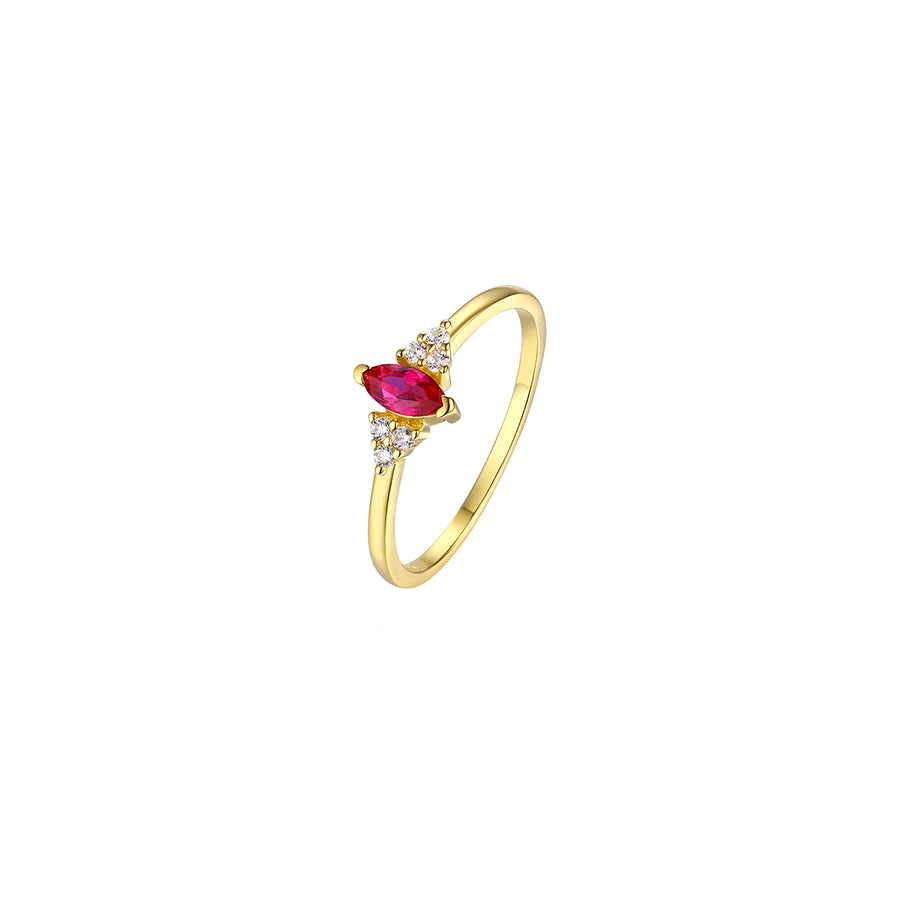 marquise ruby red gold ring