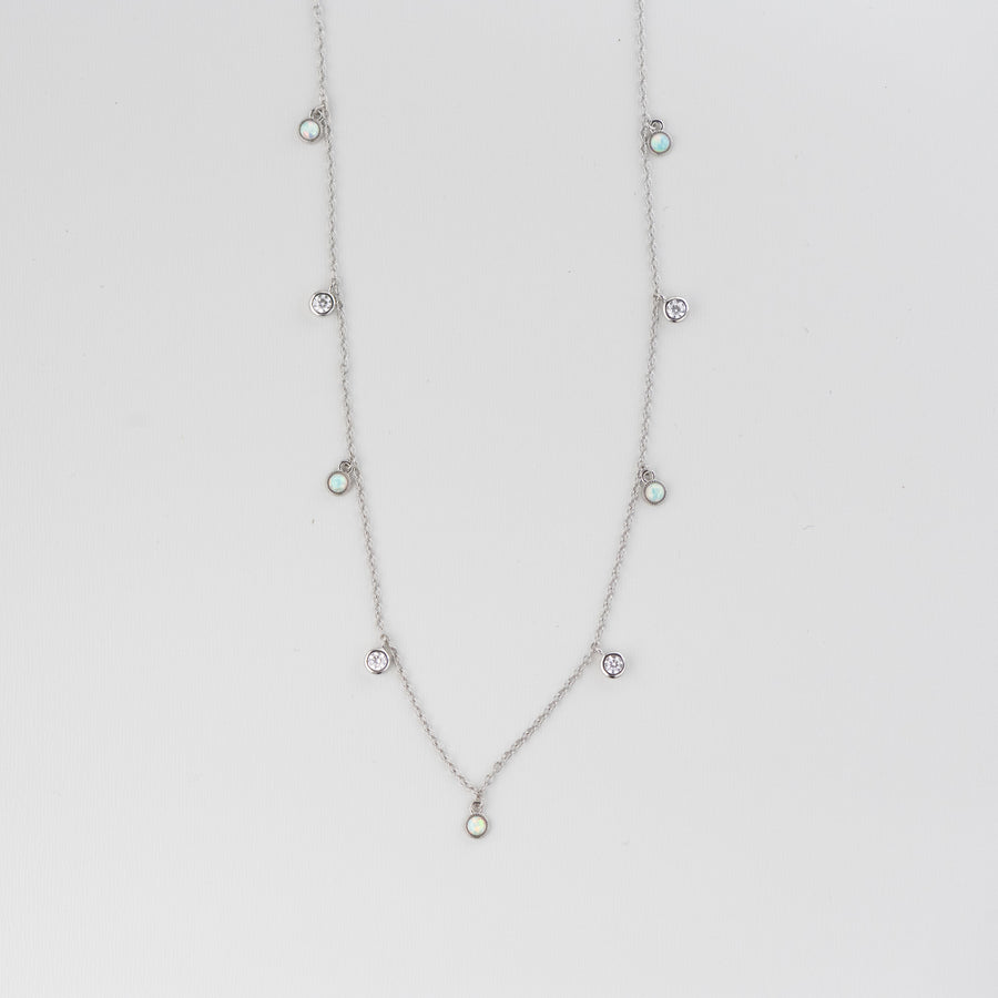 Opal Bezel Charm Necklace