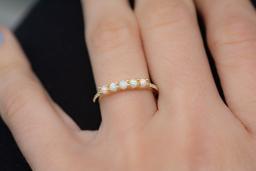 gold opal stacking ring with 5 small opal stones