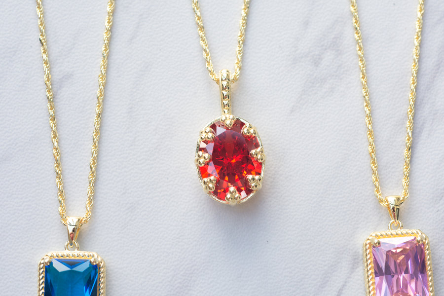 You So Fine Necklace - Fire Red-Orange