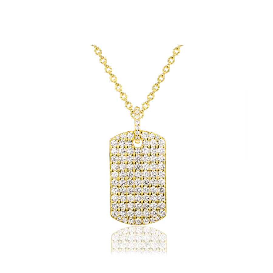 gold pave dog tag medallion necklace