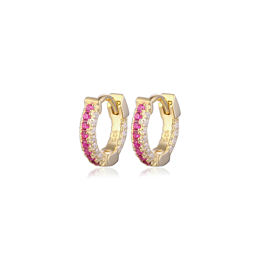 ruby pave diamond huggie earrings