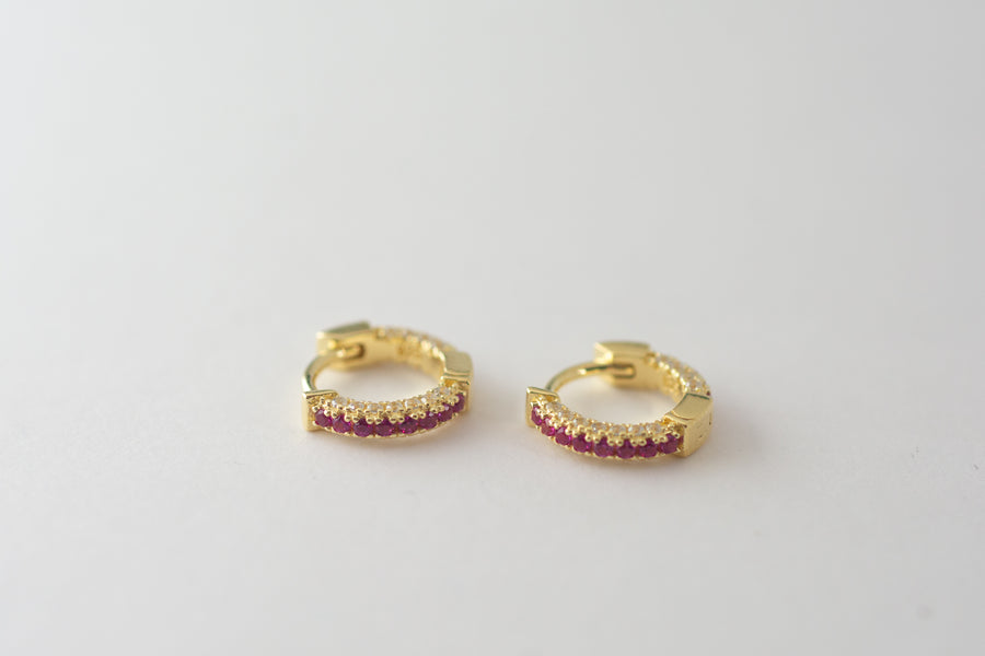 gold ruby pave small hoop earrings