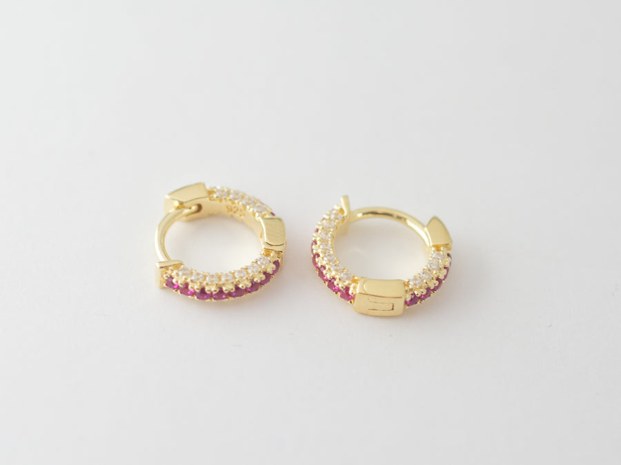gold diamond ruby earrings
