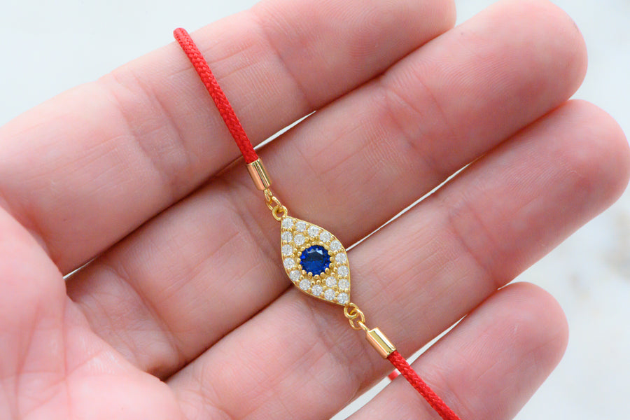 gold cz 14k plated evil eye protection red string bracelet