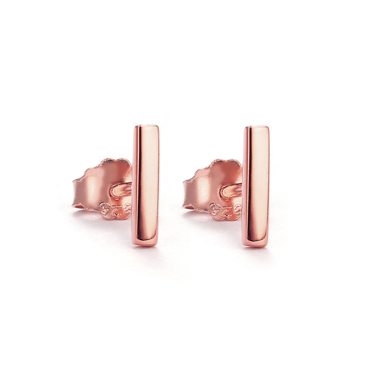 rose gold plain bar stud earrings