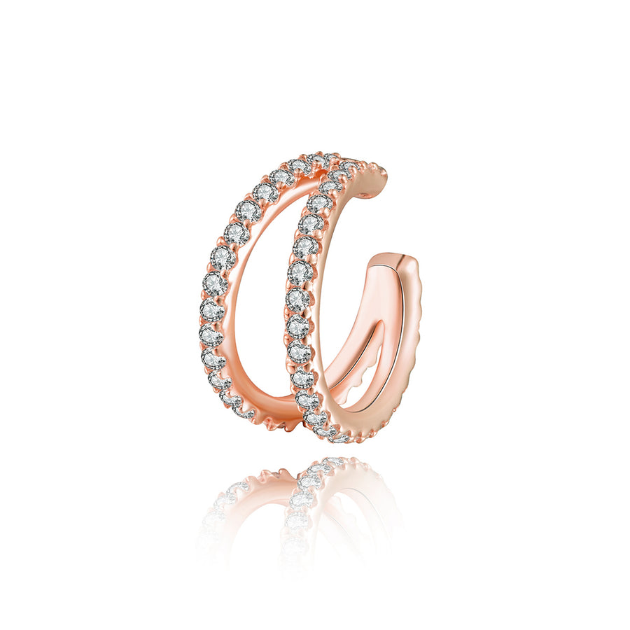 double row cz diamond rose gold ear cuff earrings