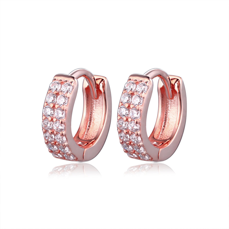 rose gold two row diamond huggie