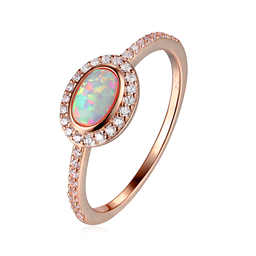 rose gold oval opal ring