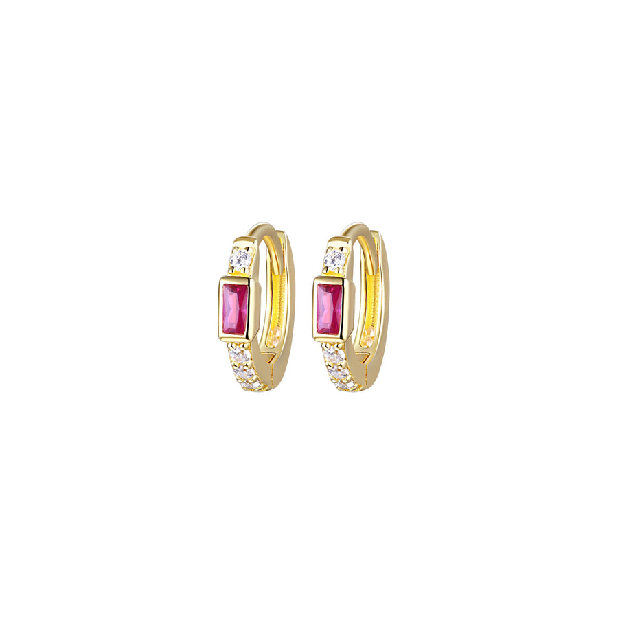 Ruby Baguette Huggie Earrings
