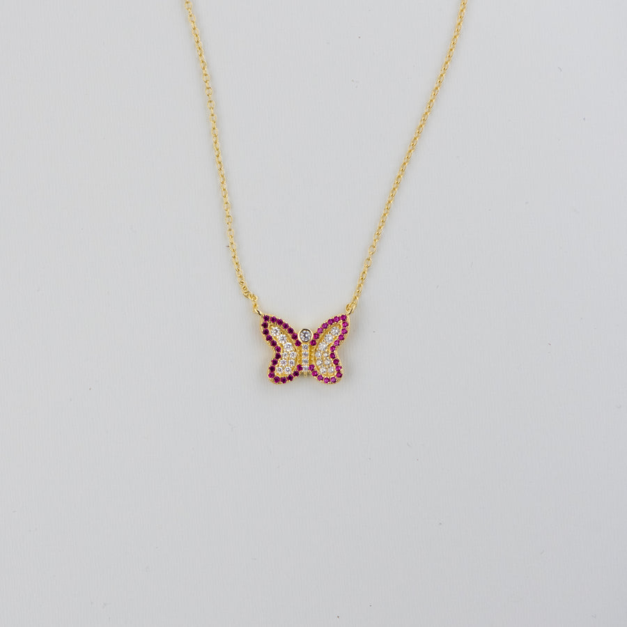 gold ruby butterfly pave necklace