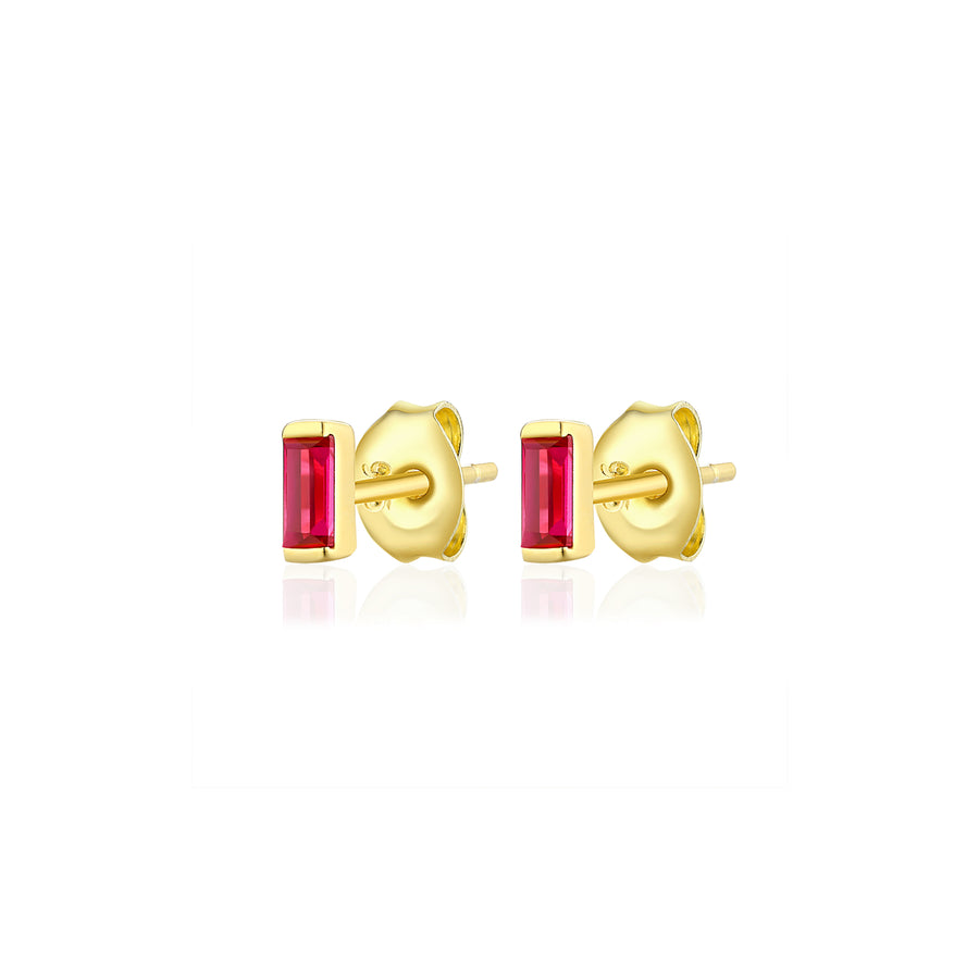 Ruby Baguette Stud Earrings