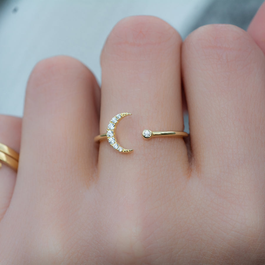 adjustable gold moon ring