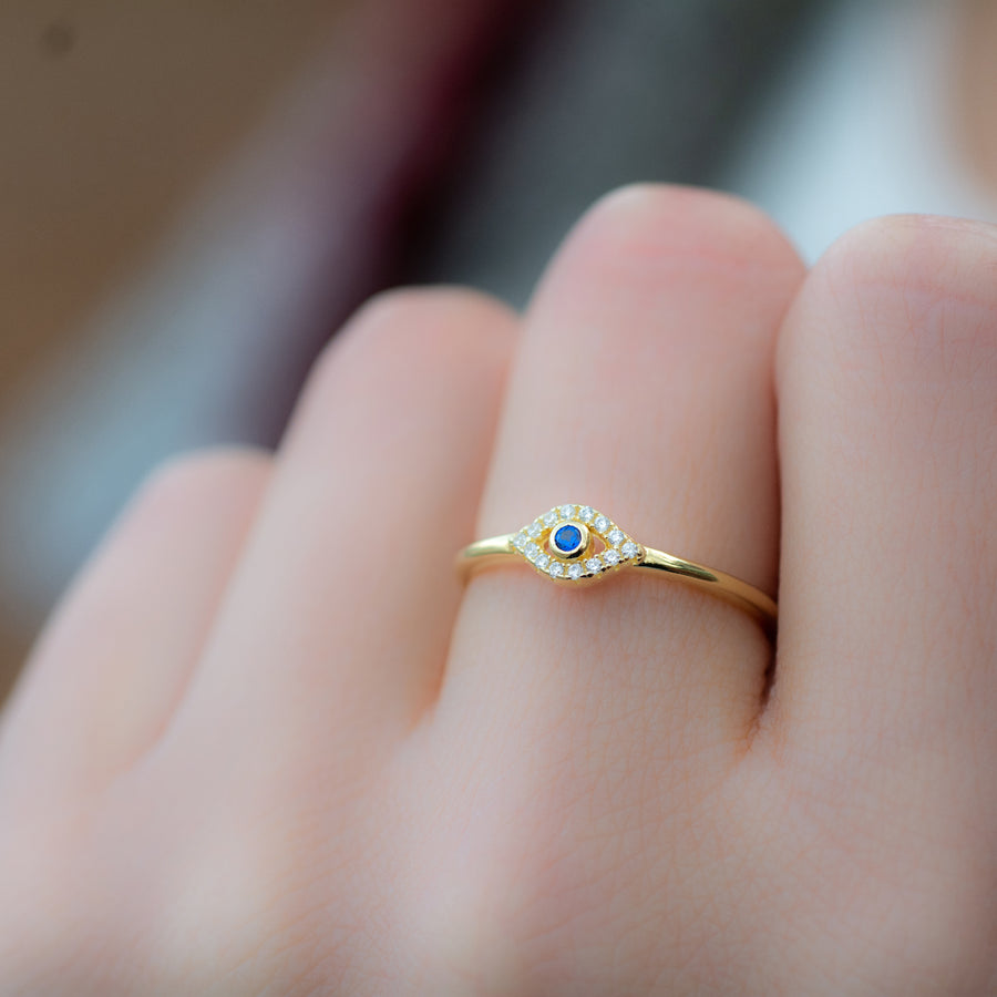 tiny gold evil eye ring