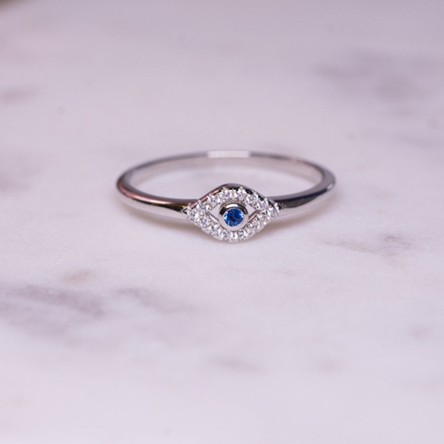 silver stacking evil eye ring