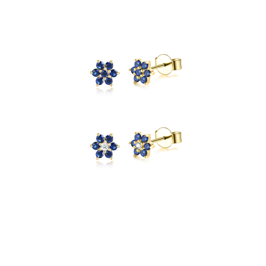 sapphire flower stud earrings