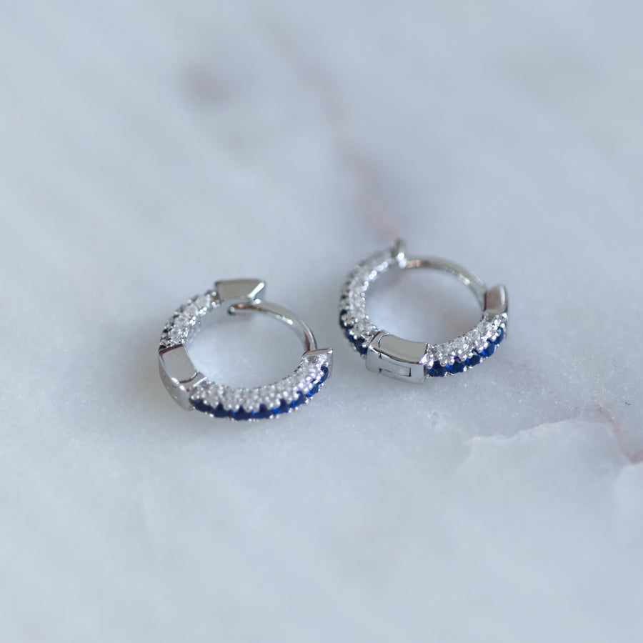 silver sapphire diamond small hoop earrings