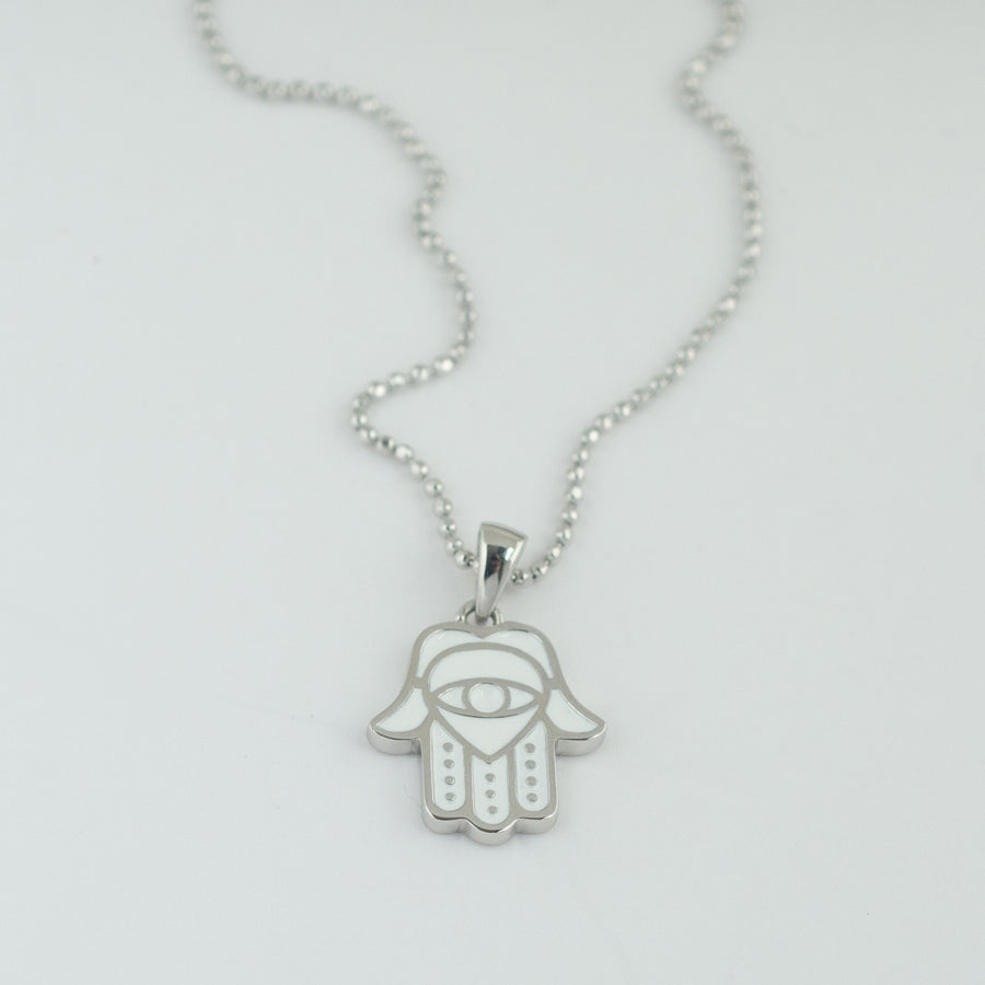 White Enamel Hamsa Necklace