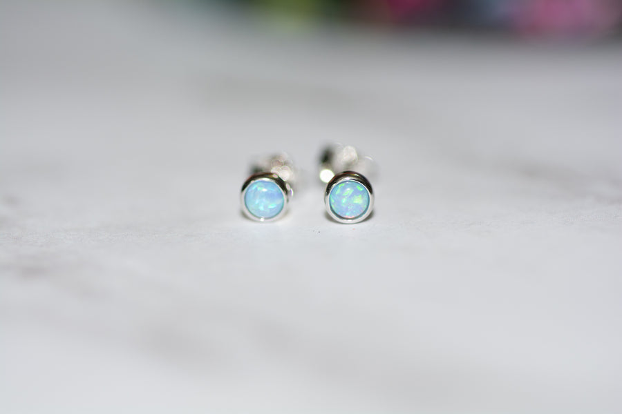 silver opal stud earrings
