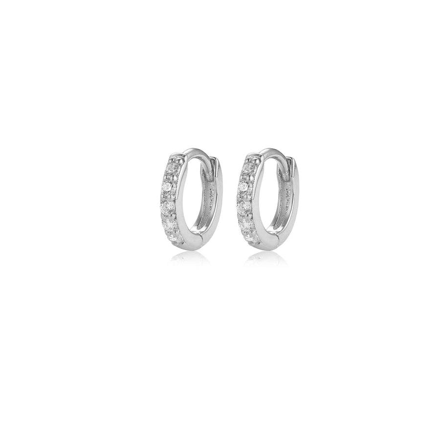 silver pave small hoop earrings