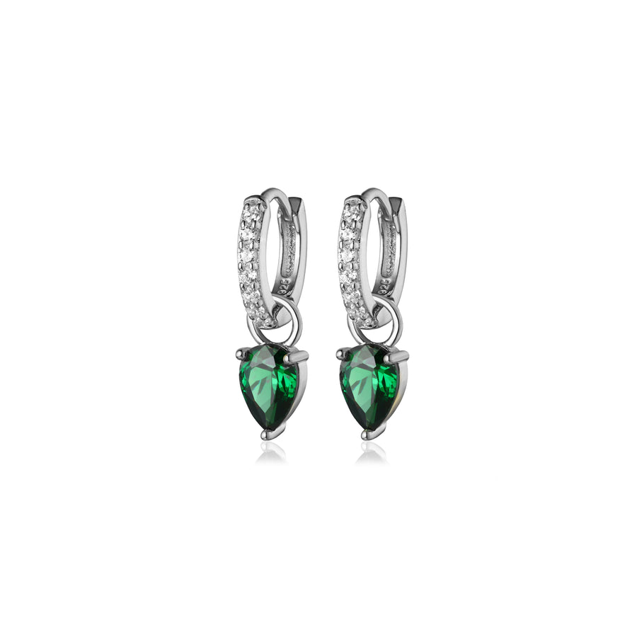 silver removable emerald tear drop charm pave huggie hoop earrings