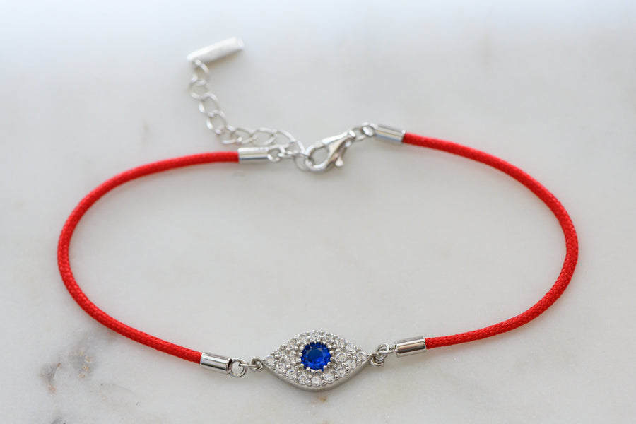 silver evil eye red string bracelet