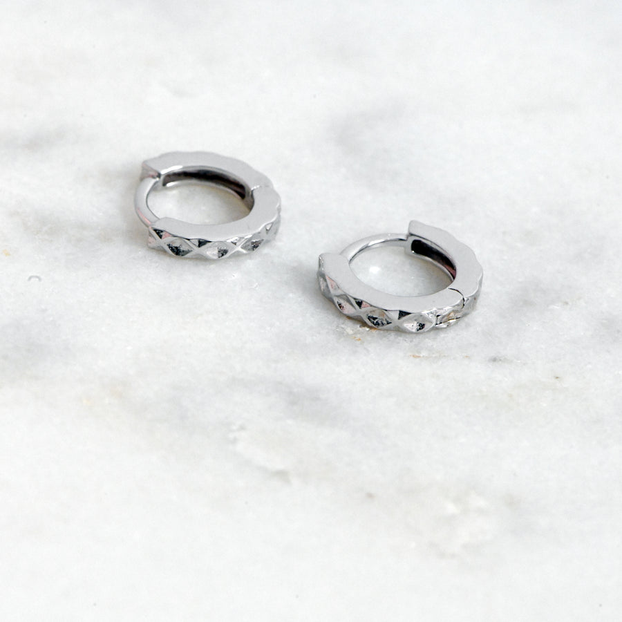 silver plain small hoop earrings