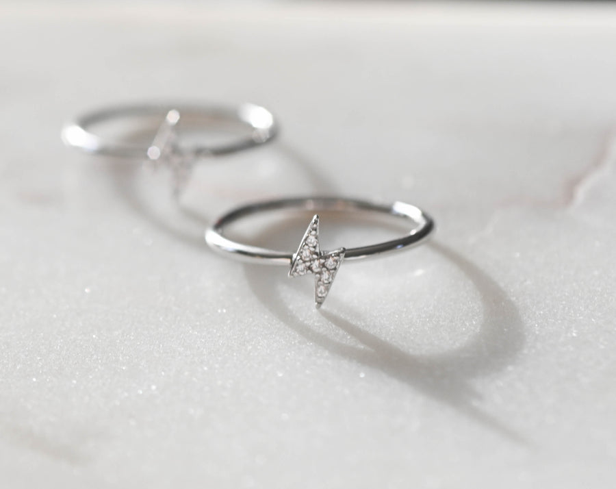 silver diamond lightning bolt stacking rings
