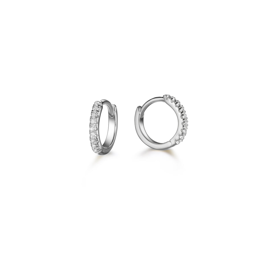 pair of silver diamond huggie earrings made of 925 sterling silver