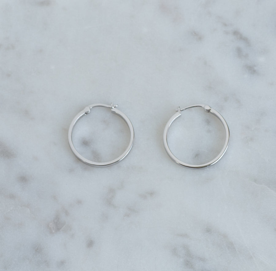 silver 13mm flat hoop earrings