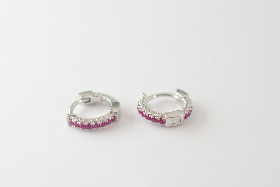 silver diamond ruby huggie earrings