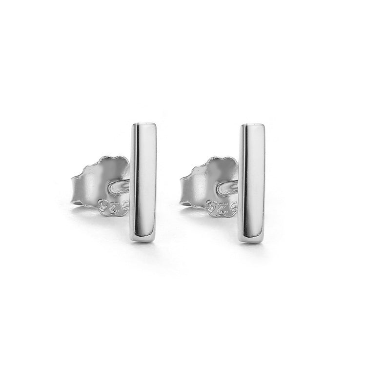 silver plain bar stud earrings