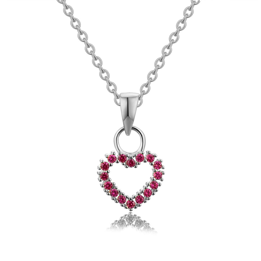 ruby red cz silver stoned heart necklace
