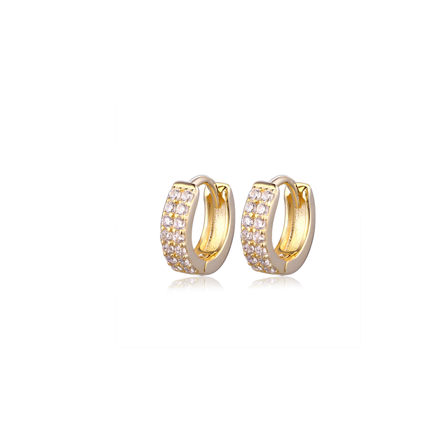 pair of small gold cz pave hoop earrings